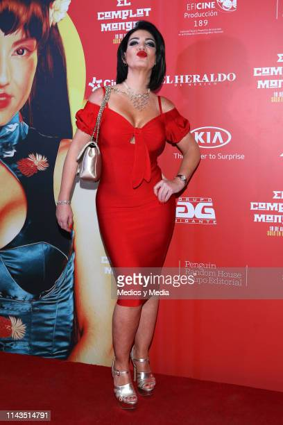 Paola Durante poses for photos at the red carpet prior the premiere of the film 'Complot Mongol' at Cinepolis Diana on April 17 2019 in Mexico City...