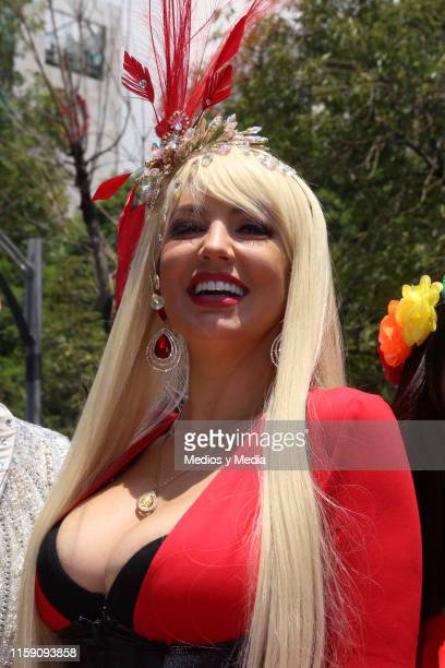 Paola Durante poses for photos during the 41 LGBTTTI Pride Parade and concert on June 29 2019 in Mexico City Mexico