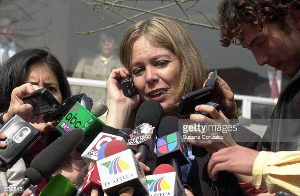 Paola Durante's mother is interview by the press January 25 2001 minutes after hearing the decision of a judge who released her daughter along with...