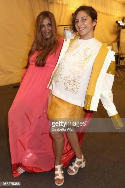 Paola Emilia Monachesi and Blu Yoshimi attend Sfilata AU197SM AltaRoma on June 29 2018 in Rome Italy