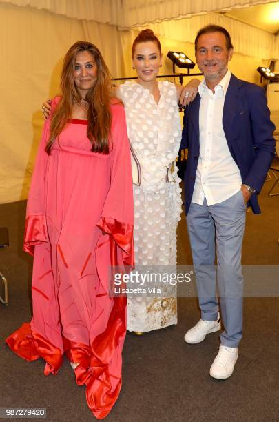 Paola Emilia Monachesi Simona Borioni and Stefano Maccagnani attend Sfilata AU197SM AltaRoma on June 29 2018 in Rome Italy