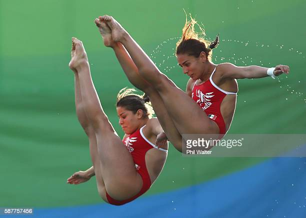 Paola Espinosa and Alejandra Orozco of Mexico compete in the Women's Diving Synchronised 10m Platform Final on Day 4 of the Rio 2016 Olympic Games at...