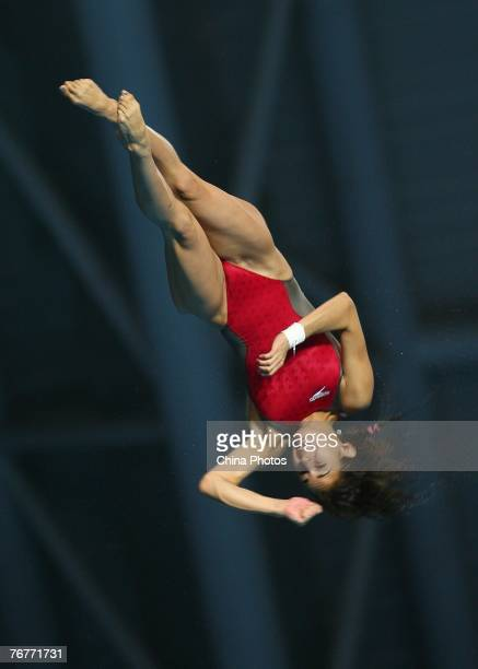 Paola Espinosa of Mexico competes in the Women's 10m Platform Diving Final during the Nanjing Round of the FINA's World Diving Series on September 15...