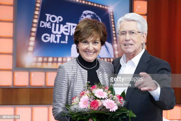 Paola Felix and Frank Elstner during the photo call for TV Show 'Top die Wette gilt 75 Jahre Frank Elstner' in Berlin at on April 4 2017 in Berlin...