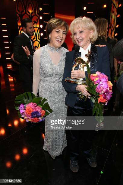 Paola Felix and Liselotte Lilo Pulver during the Bambi Awards 2018 final applause at Stage Theater on November 16 2018 in Berlin Germany