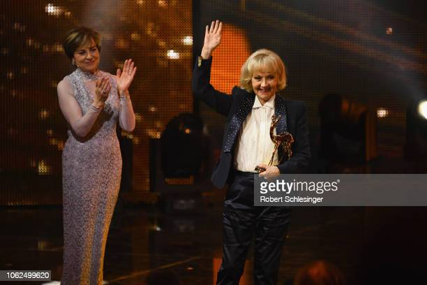 Paola Felix and Liselotte Pulver on stage during the 70th Bambi Awards show at Stage Theater on November 16 2018 in Berlin Germany