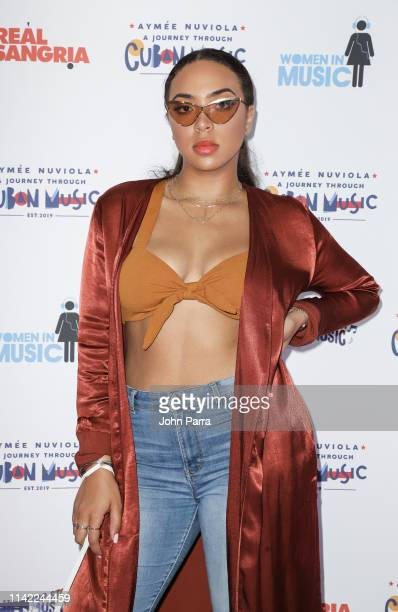 Paola Guanche Nuviola arrives at a Journey Through Cuban Music at Gibson Studio on May 3 2019 in Miami Florida