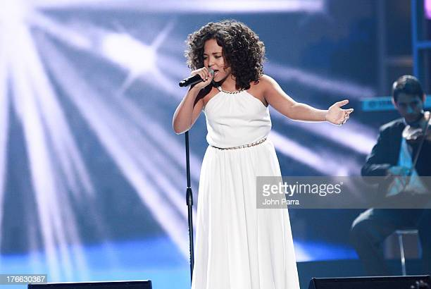 Paola Guanche on stage during Telemundo's Premios Tu Mundo Awards at American Airlines Arena on August 15 2013 in Miami Florida