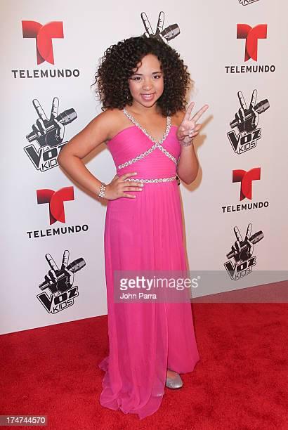 Paola Guanche winner of Telemundo's La Voz Kids Finale on July 27 2013 in Miami Florida