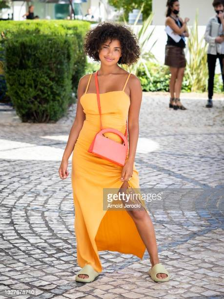 Paola Locatelli is seen at the Martinez Hotel during the 74th annual Cannes Film Festival on July 08, 2021 in Cannes, France.
