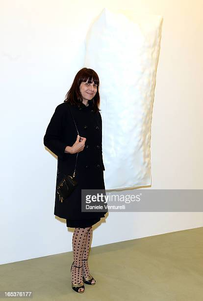 Paola Manfrin attends the 'Angela de la Cruz' Exhibition at the Lisson Gallery Milan on April 3 2013 in Milan Italy