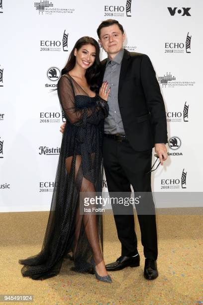 Paola Maria Koslowski and her husband Sascha arrive for the Echo Award at Messe Berlin on April 12 2018 in Berlin Germany