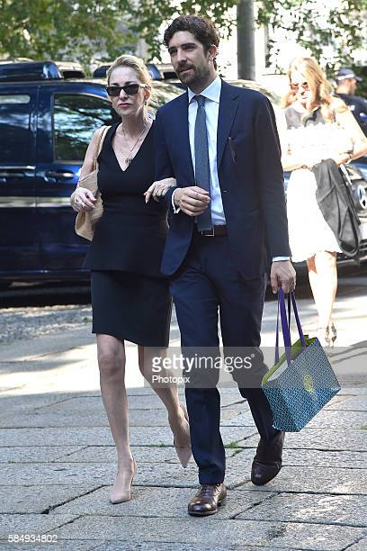 Paola Marzotto and Carlo Borromeo arrive at Marta Marzotto funeral at chruch of Sant'Angelo on August 1 2016 in Milan Italy