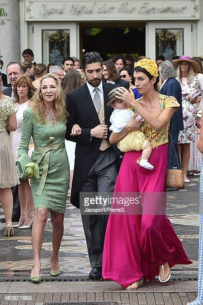 Paola Marzotto Carlo Borromeo and Marta Ferri are seen on August 1 2015 in STRESA Italy