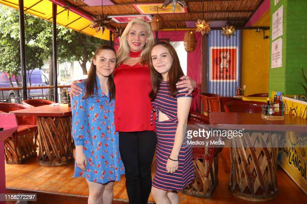 Paola Meixuerio Cynthia Klitbo and Patty Larrañaga poses for photos during the press conference for the play 'The Exorcist' on June 25 2019 in Mexico...