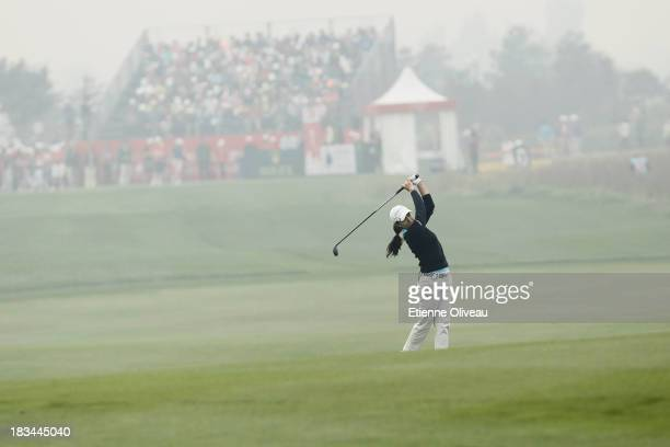 Paola Moreno of Colombia hits a fairway shot during the final round of the Reignwood LPGA Classic at Pine Valley Golf Club on October 6 2013 in...