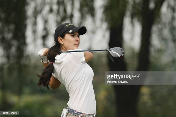 Paola Moreno of Colombia plays a tee shot during the third round of the Reignwood LPGA Classic at Pine Valley Golf Club on October 5 2013 in Beijing...