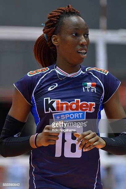 Paola Ogechi Egonu of Italy looks on during the Women's World Olympic Qualification game between Italy and Kazakhstan at Tokyo Metropolitan Gymnasium...