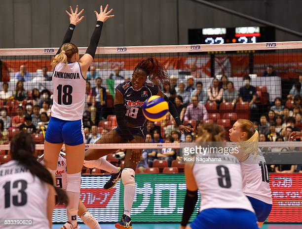 Paola Ogechi Egonu of Italy spikes the ball during the Women's World Olympic Qualification game between Italy and Kazakhstan at Tokyo Metropolitan...