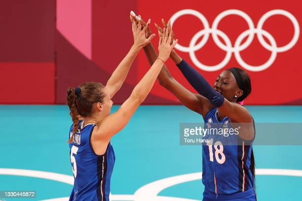 Paola Ogechi Egonu of Team Italy runs out during introductions prior to the match against Team ROC during the Women's Preliminary - Pool B on day two...