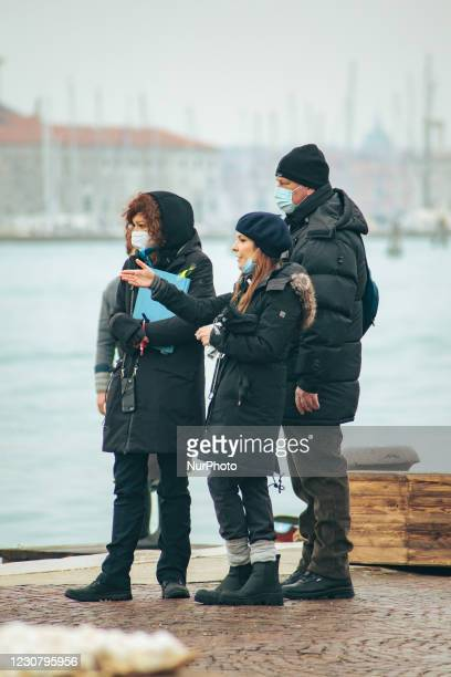 Paola Ortiz while shooting the film Across the River and into the Trees, by director Paola Ortiz and starring actors such as Liev Schreiber and...