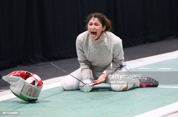 Paola Pliego of Mexico celebrates making the winning touch during the gold medal match in the Team Women's Sabre event on June 17 2017 at the...