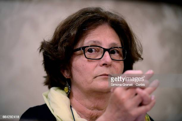Paola Regeni attends a press conference relating of the murder of her son Giulio Regeni at the Italian Senate on April 3 2017in Rome Italy The 28...