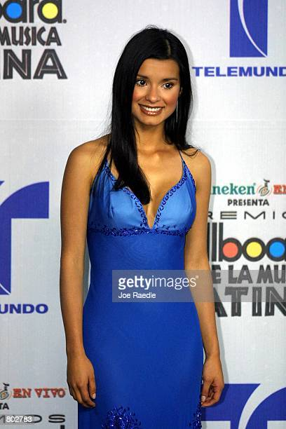 Paola Rey poses at the 12th Annual Billboard Latin Music Awards April 26 2001 in Miami Beach Florida As a showplace for Hispanic talent the event...