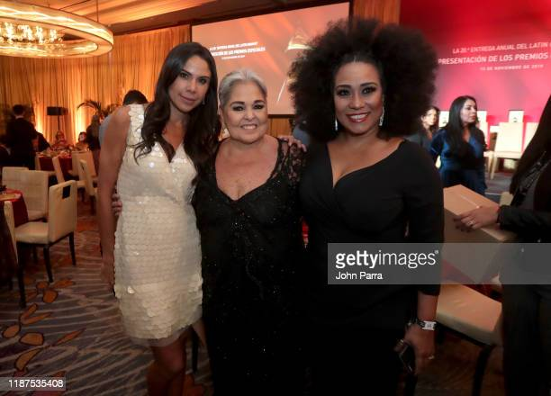 Paola Rojas Lupita D'Alessio and Aymée Nuviola attend the Special Awards Presentation during the 20th annual Latin GRAMMY Awards at the Waldorf...