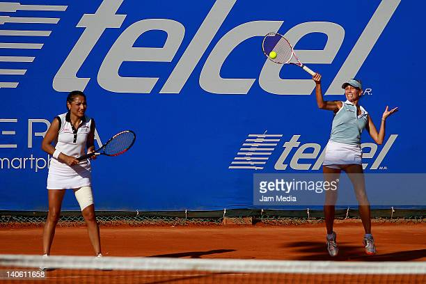 Paola Suarez and Gisela Dulko of Argentina during Semi Finals of the 2012 Mexican Open at Princess Hotel on March 2, 2012 in Acapulco, Mexico.