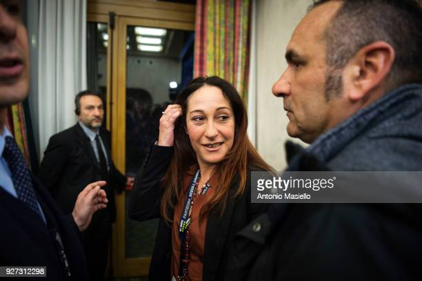 Paola Taverna member of 5Star Movement speaks about the first exit polls estimating the 5Star Movement as first Italian political party after the...