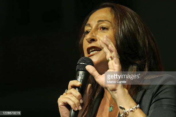 Paola Taverna, member of the political party Movimento 5 Stelle, during the rally, for the regional elections in Campania to support the candidate...