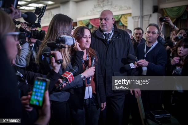 M5S Paola Taverna speaks after polling stations closure at the electoral headquarters of FiveStar Movement in Rome Sunday March 5 2018 The economy...