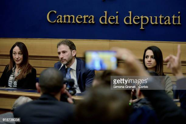 Paola Taverna The founder of the 5 Star Movement platform Davide Casaleggio Enrica Sabatini participate in the presentation of Rousseau's Activism...