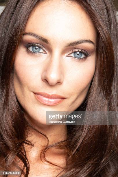 Paola Turani make up detail poses during the #PaolaLovesMAC Eye Palette presentation and meetgreet by MAC Costmetics Italia at MAC Pro Store on July...