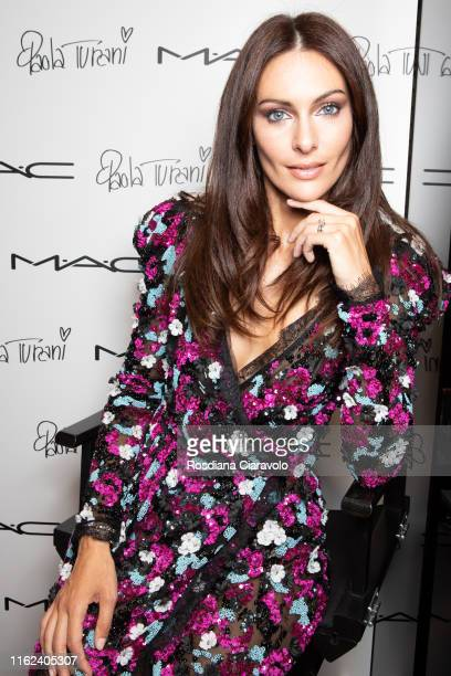 Paola Turani poses during the #PaolaLovesMAC Eye Palette presentation and meetgreet by MAC Costmetics Italia at MAC Pro Store on July 16 2019 in...