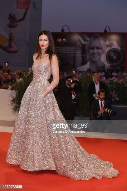 "Paola Turani walks the red carpet ahead of the ""Om Det Oandliga"" screening during the 76th Venice Film Festival at Sala Grande on September 03, 2019..."