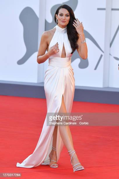 Paola Turani walks the red carpet ahead of the Opening Ceremony and the Lacci red carpet during the 77th Venice Film Festival at on September 02 2020...