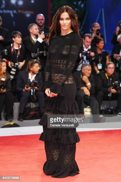 Paola Turani walks the red carpet ahead of the 'Three Billboards Outside Ebbing Missouri' screening during the 74th Venice Film Festival at Sala...