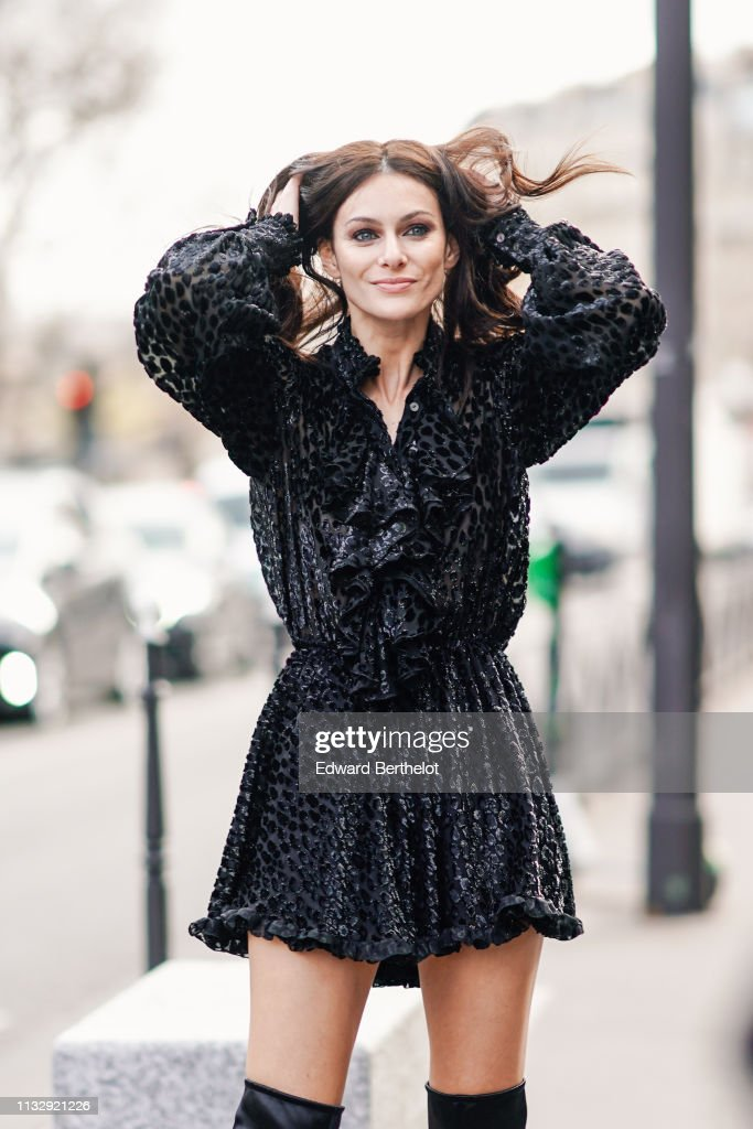 Paola Turani Wears A Black Ruffled Muslin Dress With Shiny Velvet News Photo Getty Images