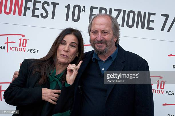 Paola Turci and Giuseppe Piccioni during the photocall of the press conference to present the tenth edition of Roma Fiction Fest