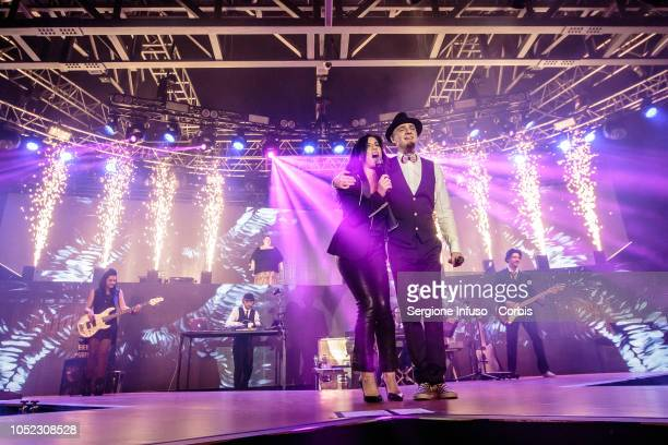 Paola Turci and JAx perform on stage at Fabrique Club on October 16 2018 in Milan Italy