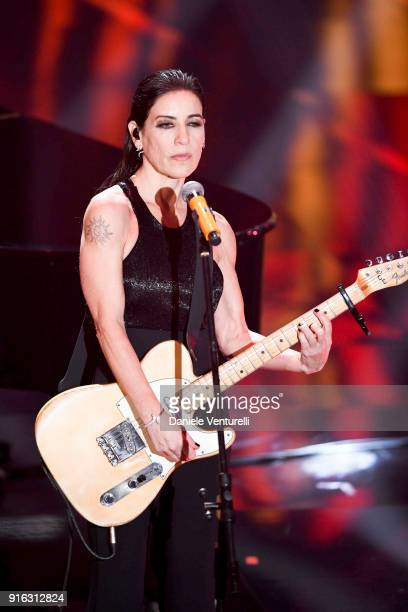 Paola Turci attends the fourth night of the 68 Sanremo Music Festival on February 9 2018 in Sanremo Italy