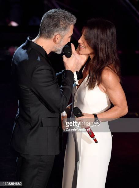 Paola Turci with Giuseppe Fiorello on stage during the fourth night of the 69th Sanremo Music Festival at Teatro Ariston on February 08 2019 in...