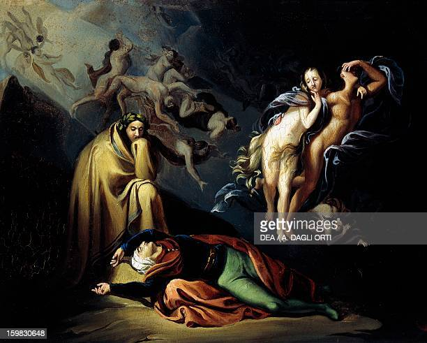Paolo and Francesca in Hell scene from the Divine Comedy by Dante Alighieri ca 1877 by Enrico Scuri oil on wood 32x425 cm Italy 19th century Pavia...