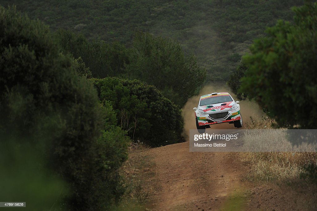 Paolo Andreucci of Italy and Anna Andreussi of Italy compete in their FPF Sport Srl Peugeot 208 T16 during Day One of the WRC Italia Sardinia on June 12, 2015 in Alghero, Italy.