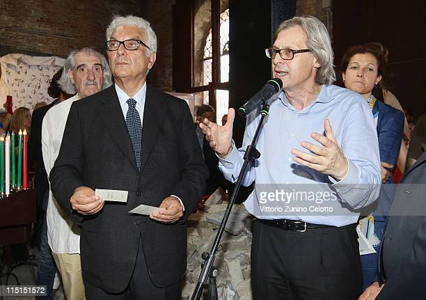 Paolo Baratta and Vittorio Sgarbi attend the Italian pavillon opening during the 54th International Art Biennale on June 3 2011 in Venice Italy