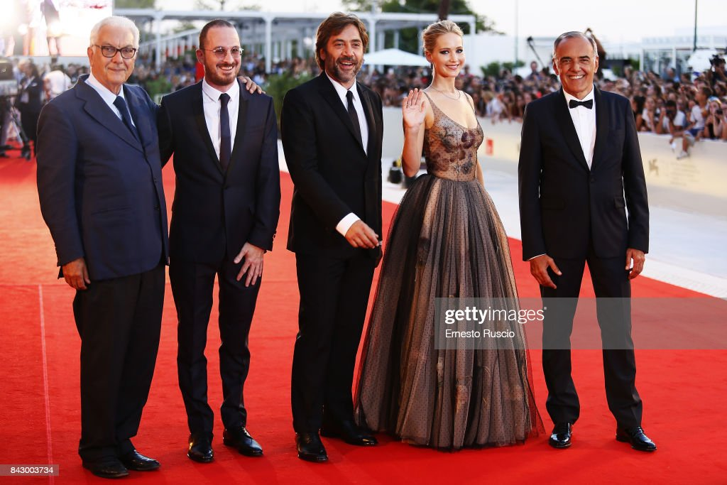 Paolo Baratta, Darren Aronofsky, Javier Bardem, Jennifer Lawrence and Alberto Barbera walk the red carpet ahead of the 'mother!' screening during the 74th Venice Film Festival at Sala Grande on September 5, 2017 in Venice, Italy.