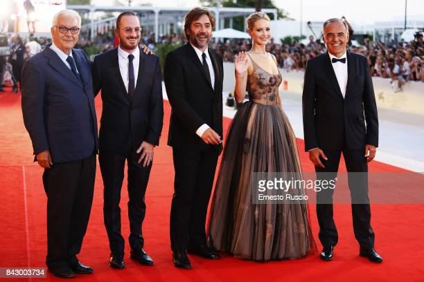Paolo Baratta Darren Aronofsky Javier Bardem Jennifer Lawrence and Alberto Barbera walk the red carpet ahead of the 'mother' screening during the...