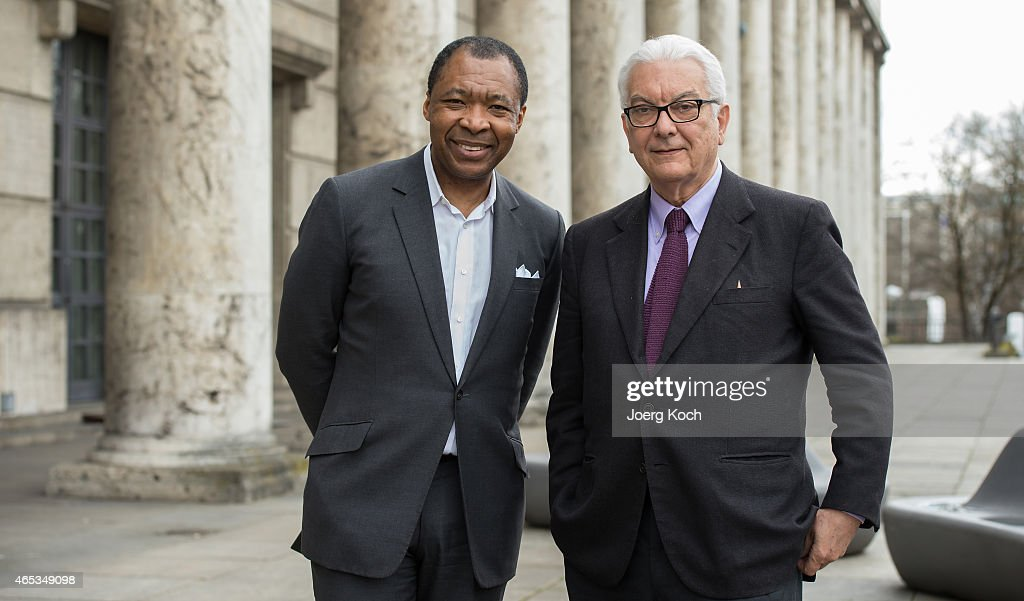 Paolo Baratta (R), president of the Venice Biennale, and Okwui Enwezor, director of the 'Haus der Kunst', attend the 'All the World's Futures' International Art Exhibition Press Conference at Haus der Kunst on March 6, 2015 in Munich, Germany.